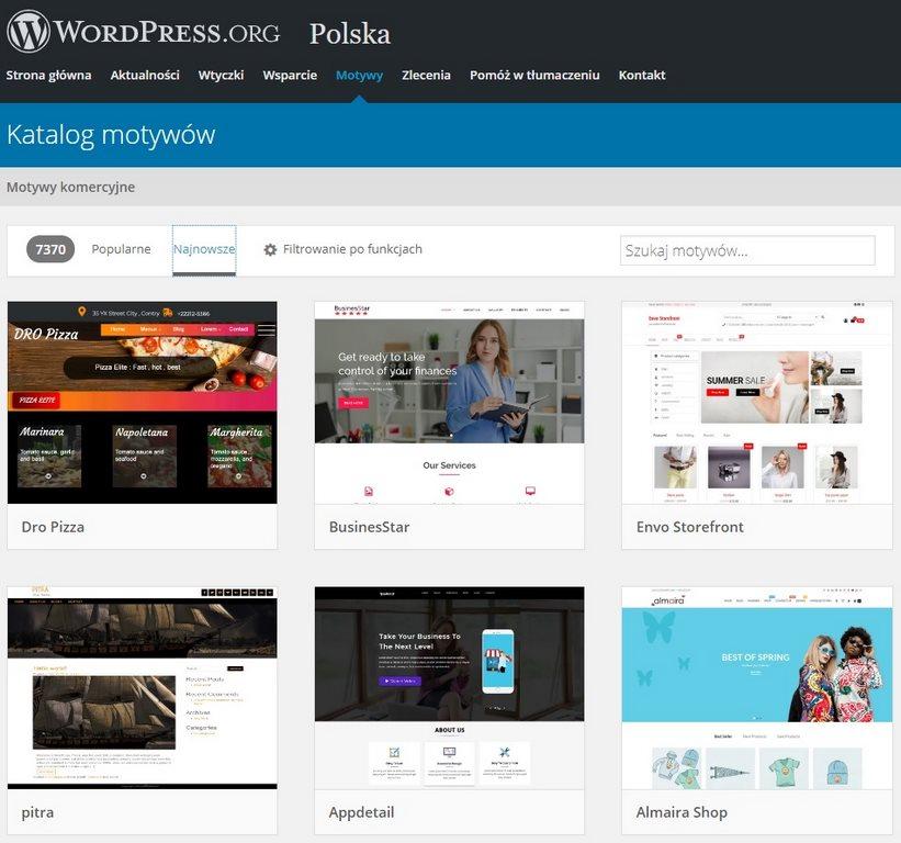 katalog szablonów wordpress tworzenie stron internetowych