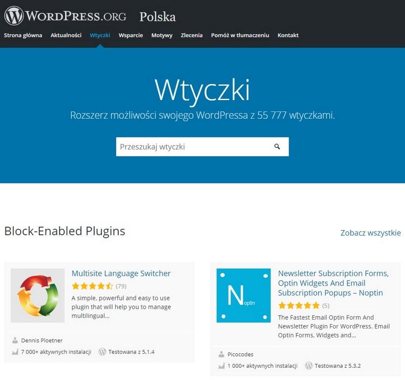 katalog wtyczek wordpress tworzenie stron internetowych