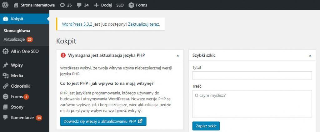 zaniedbana strona internetowa wordpress