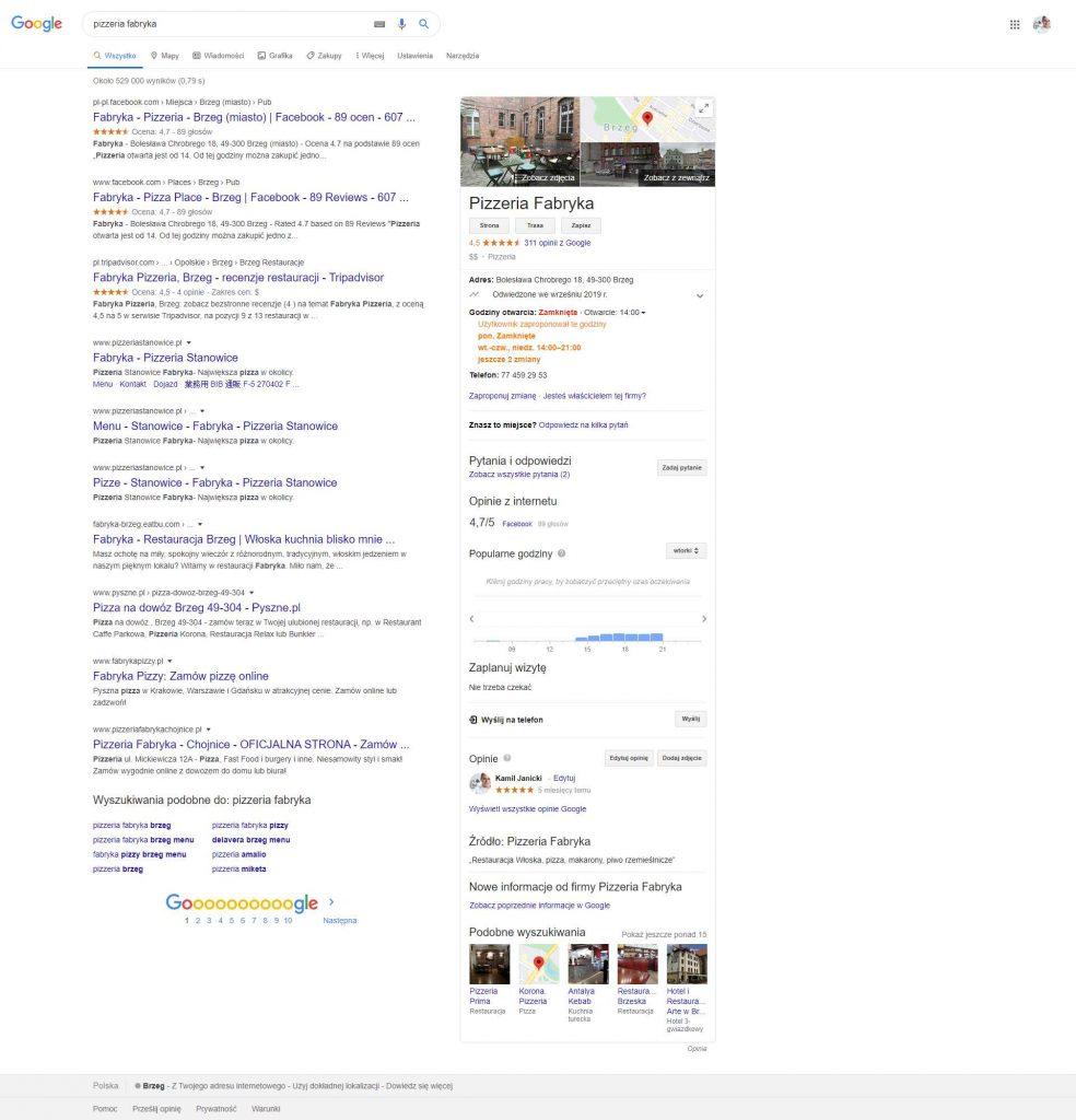 wizytówka google informacje na temat firmy