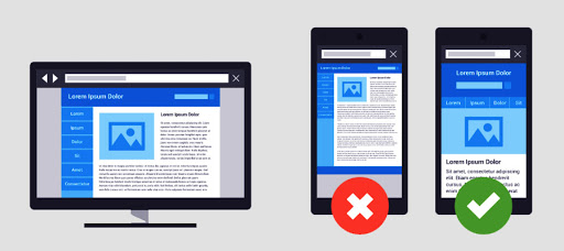 zły design responsywny przy tworzeniu strony internetowej