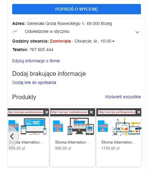 prezentacja oferty usług w wizytówce google