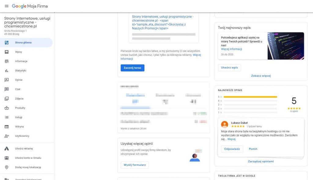 panel google moja firma wizytówka google zarządzanie wizytówką