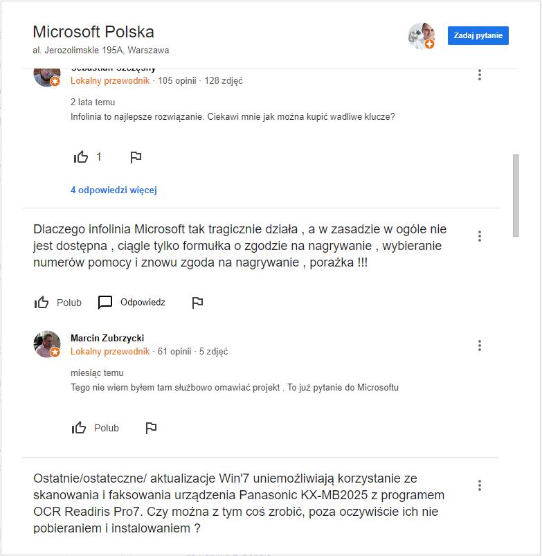 pytania i odpowiedzi klientów w wizytówce google